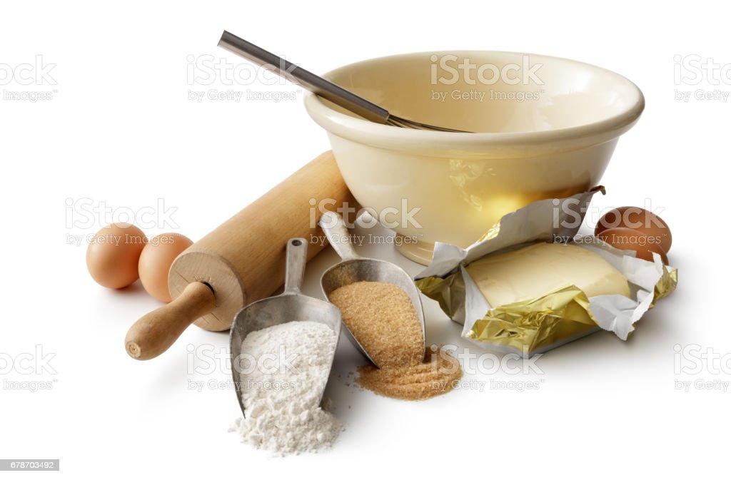 Baking: Baking Ingredients Isolated on White Background - foto de acervo