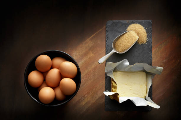 Baking: Butter, Eggs and Sugar Still Life stock photo