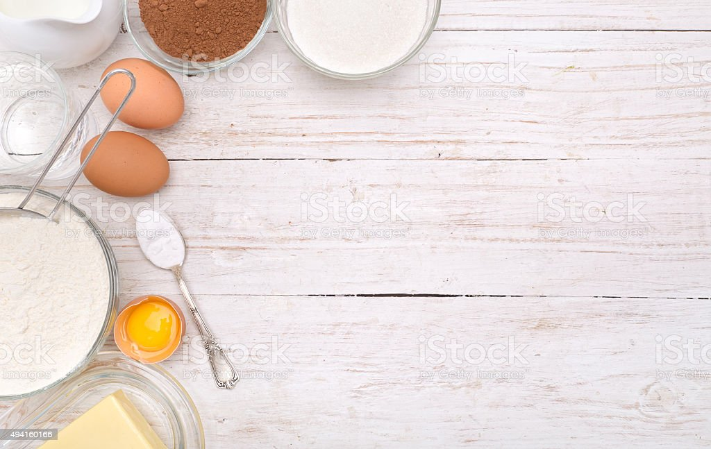 Baking cake ingredients . Background. stock photo