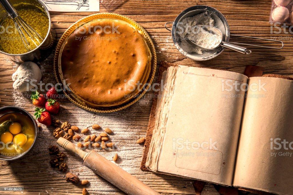 Backen Kuchen Zutaten Schussel Mehl Eiern Eiweissschaum Schneebesen