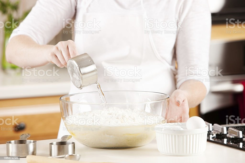 Baking: Chef Mixing Batter for Dessert Cake stock photo
