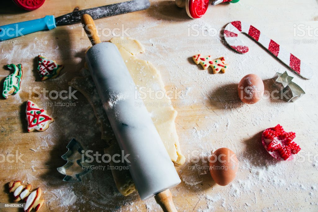 Baking Christmas cookies. Holiday background. stock photo
