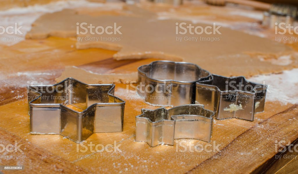 Baking Christmas gingerbread stock photo