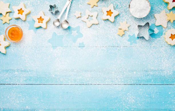 Baking Christmas Linzer Cookies Border stock photo