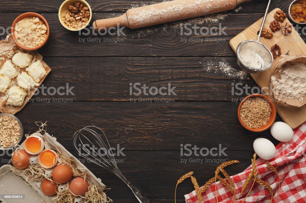 Baking classes or dough making background and mockup stock photo