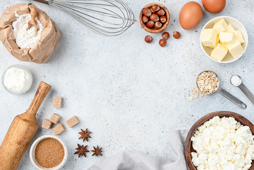 istock Baking concept, baking ingredients on background 1125423997