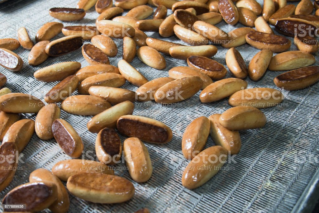 Baking Cookies On Factory Food Industry Production Line Stock Photo