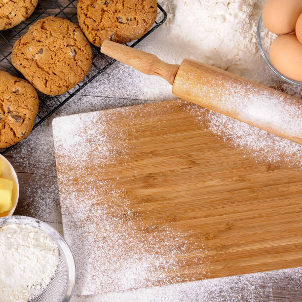 Baking cookies with ingredients stock photo