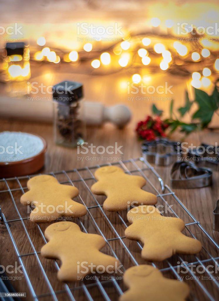 Baking Gingerbread characters at Christmas stock photo