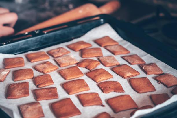 Baking gingerbread cookies stock photo