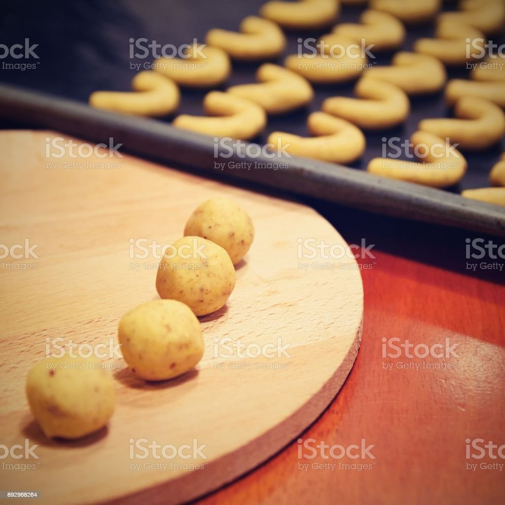 Baking Home Made Christmas Cookies Classical Czech Tradition Concept