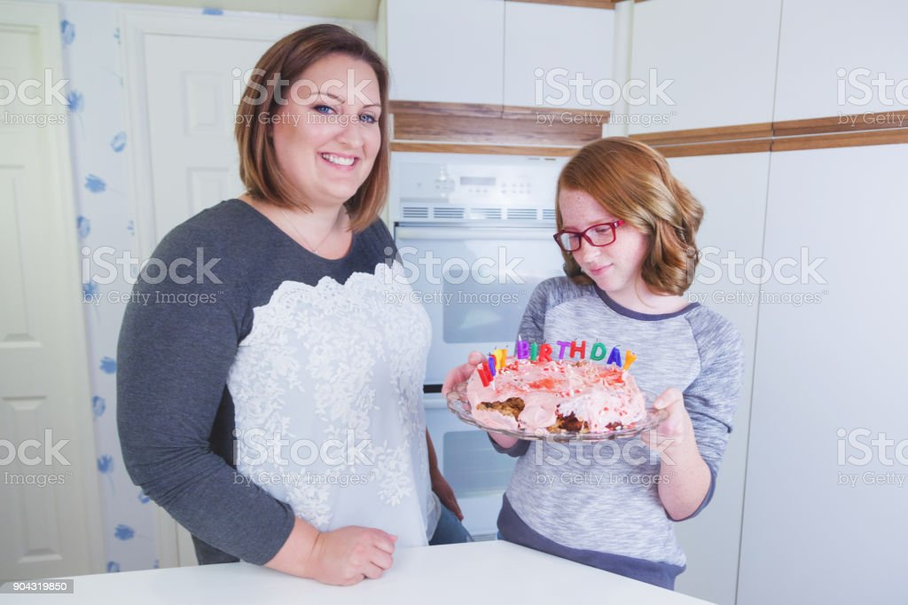 Baking - Indoor Family Fun Birthday cake Bake fail stock photo