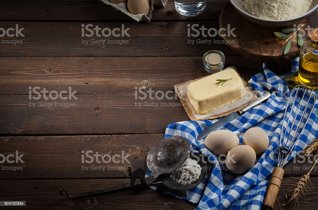Baking ingredient, Free space for text - Food background stock photo