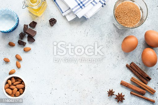 istock Baking Ingredients And Spices On Background, Frame Composition 1160631715