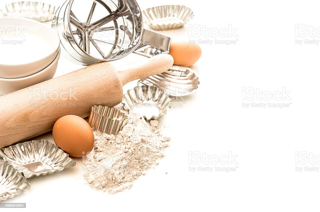 Baking ingredients and tolls for dough preparation stock photo