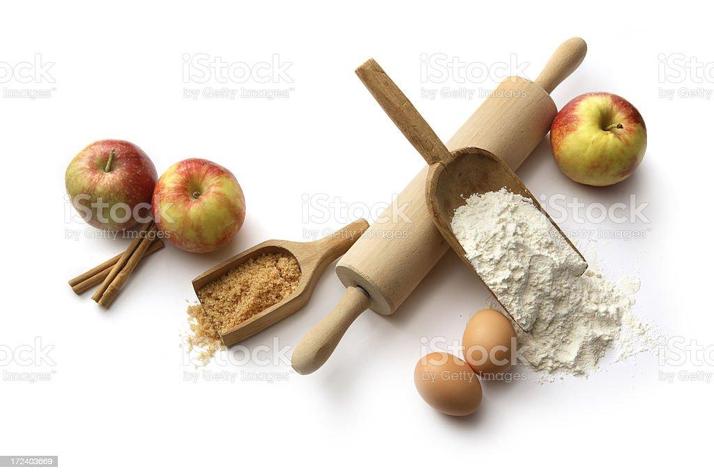 Backen Zutaten: Apple Pie (Eier, Mehl, Zucker, Äpfeln und Zimt – Foto