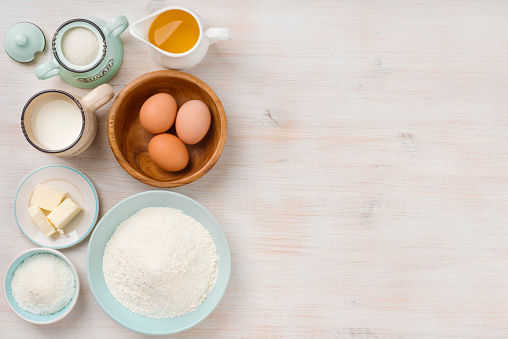 istock Baking ingredients background, baking concept, top view with copy space 626771258