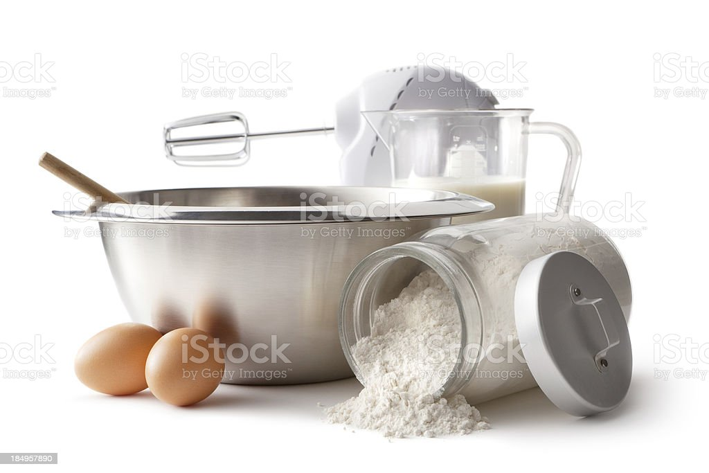 Baking Ingredients: Bowl, Electric Mixer, Eggs and Flour royalty-free stock photo