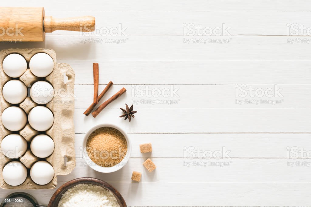 Baking ingredients / cooking food bread pastry or cake stock photo