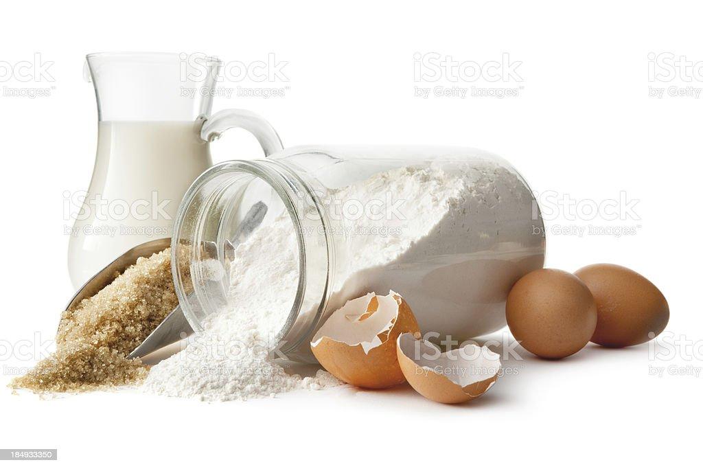 Baking Ingredients: Eggs, Sugar, Flour and Milk stock photo