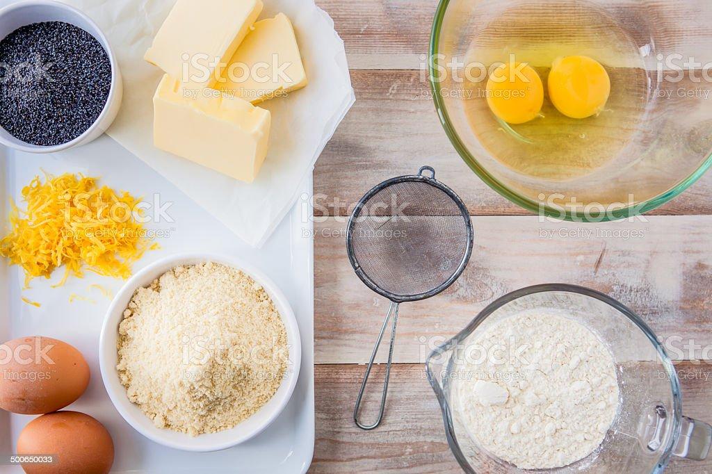 Baking ingredients for a lemon cake stock photo