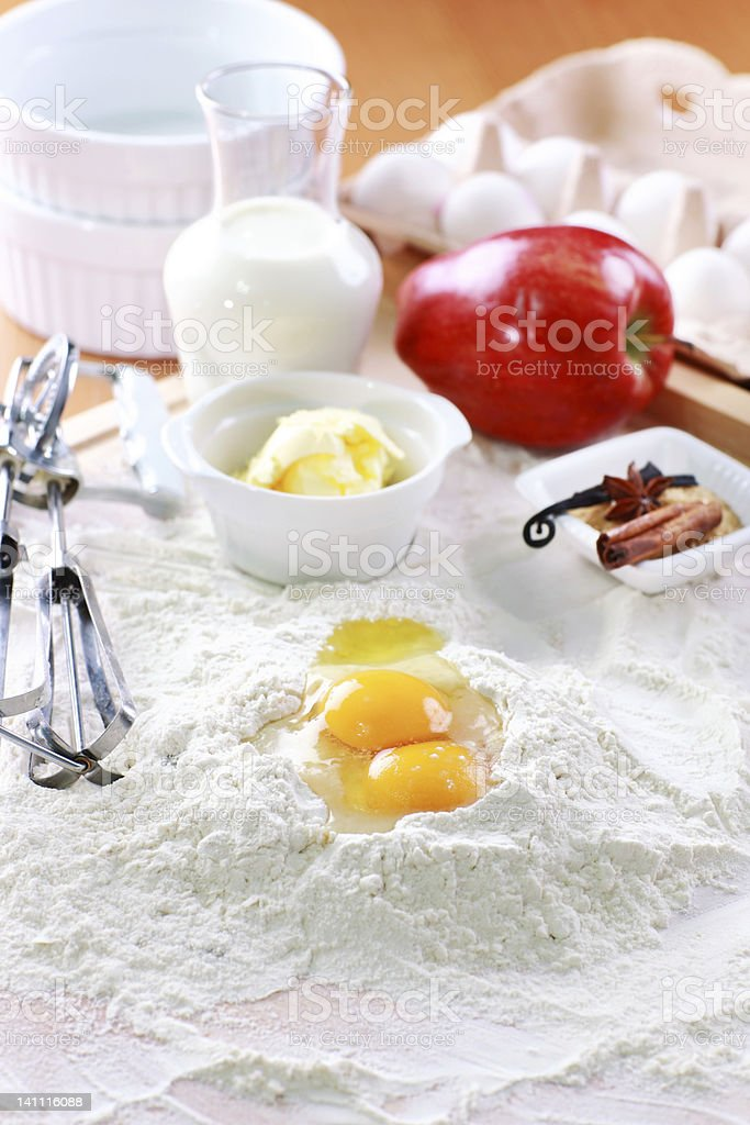 Baking ingredients for apple pie royalty-free stock photo