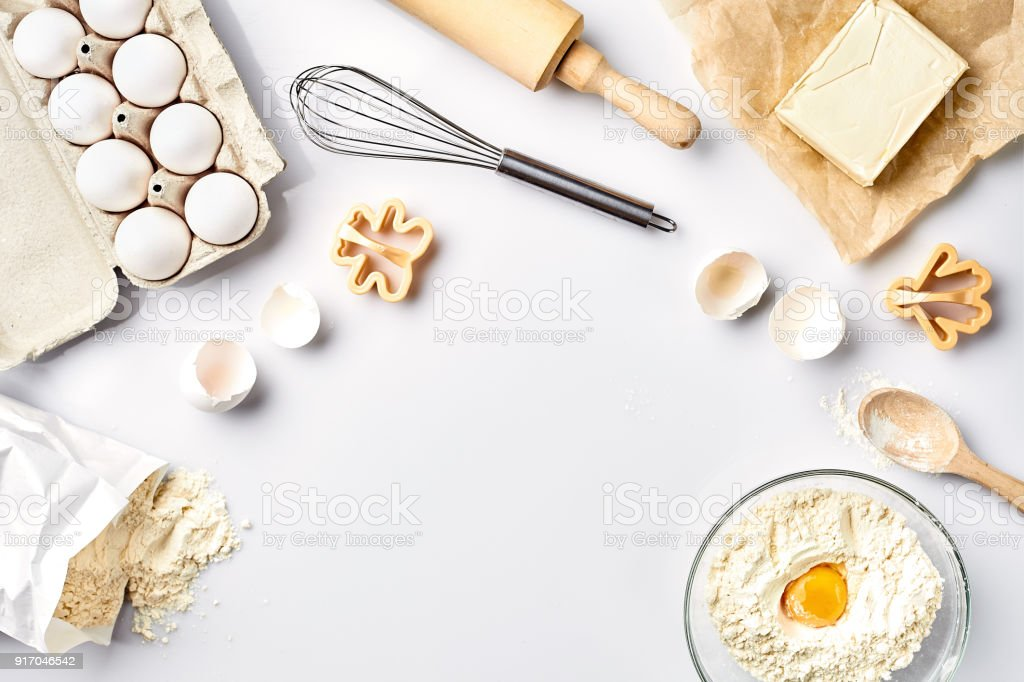 Baking ingredients for pastry on the white table