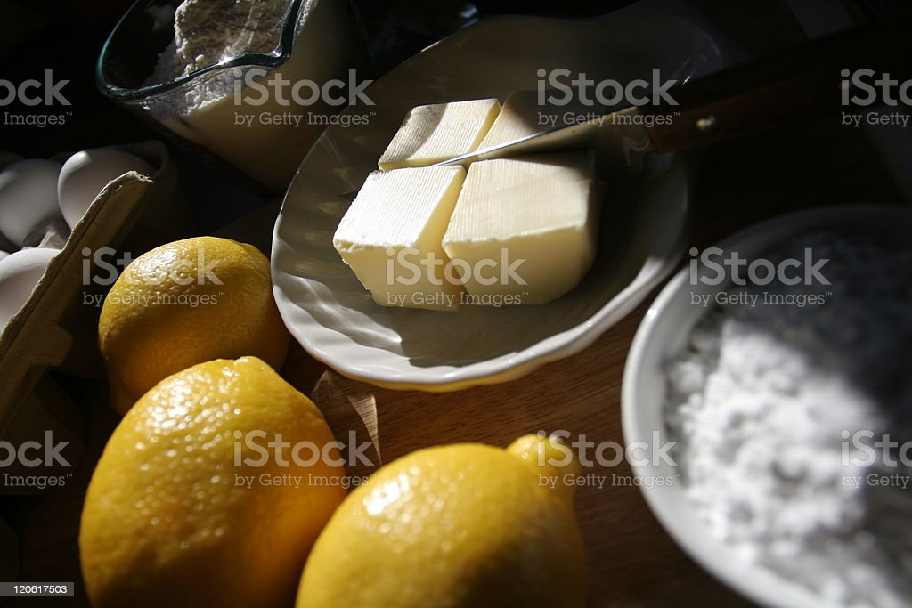 Baking ingredients on kitchen table, morning atmosphere stock photo