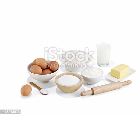 Dough Ingredients on white background.