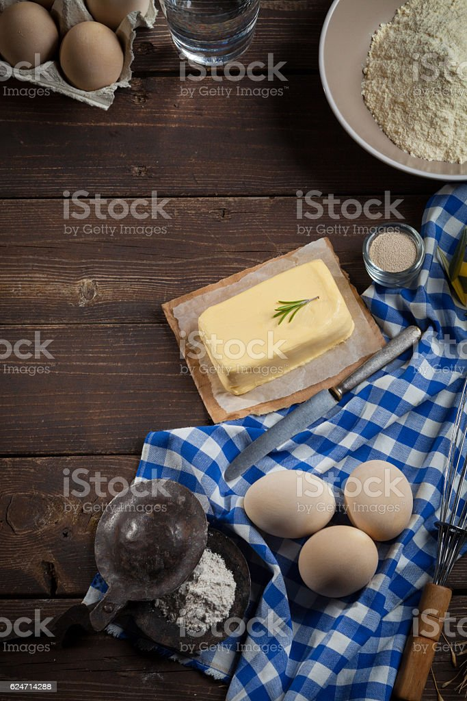 Baking ingredients, top view - Food background stock photo