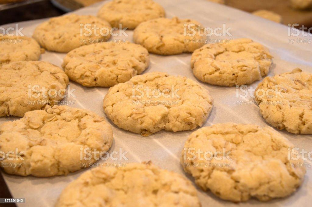 Baking Oatmeal Cookies stock photo