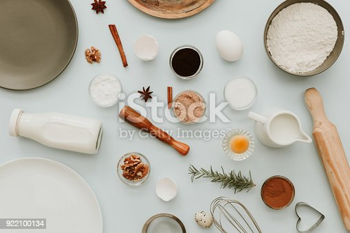istock Baking or cooking background frame. Ingredients, kitchen items for baking cakes. Kitchen utensils 922100134