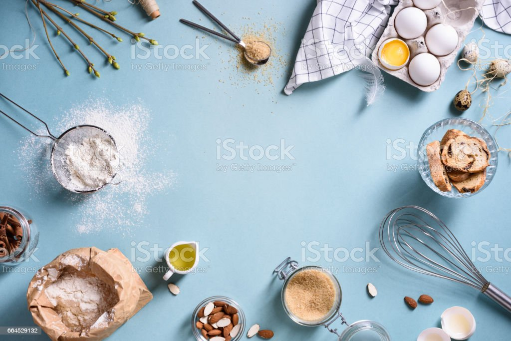 Baking or cooking frame. Ingredients, kitchen items for baking cakes.