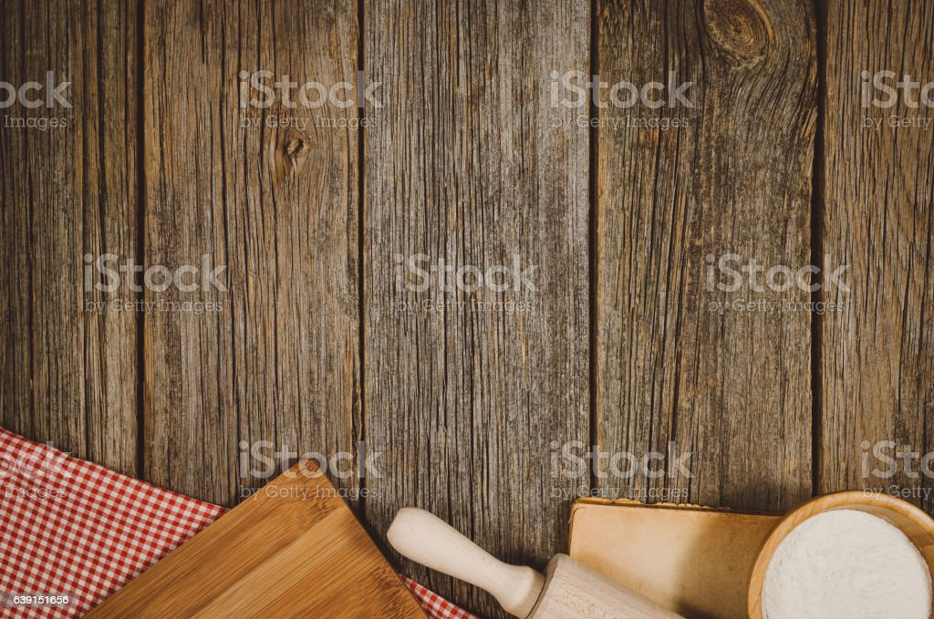 Baking or cooking ingredients top view on vintage wooden background stock photo