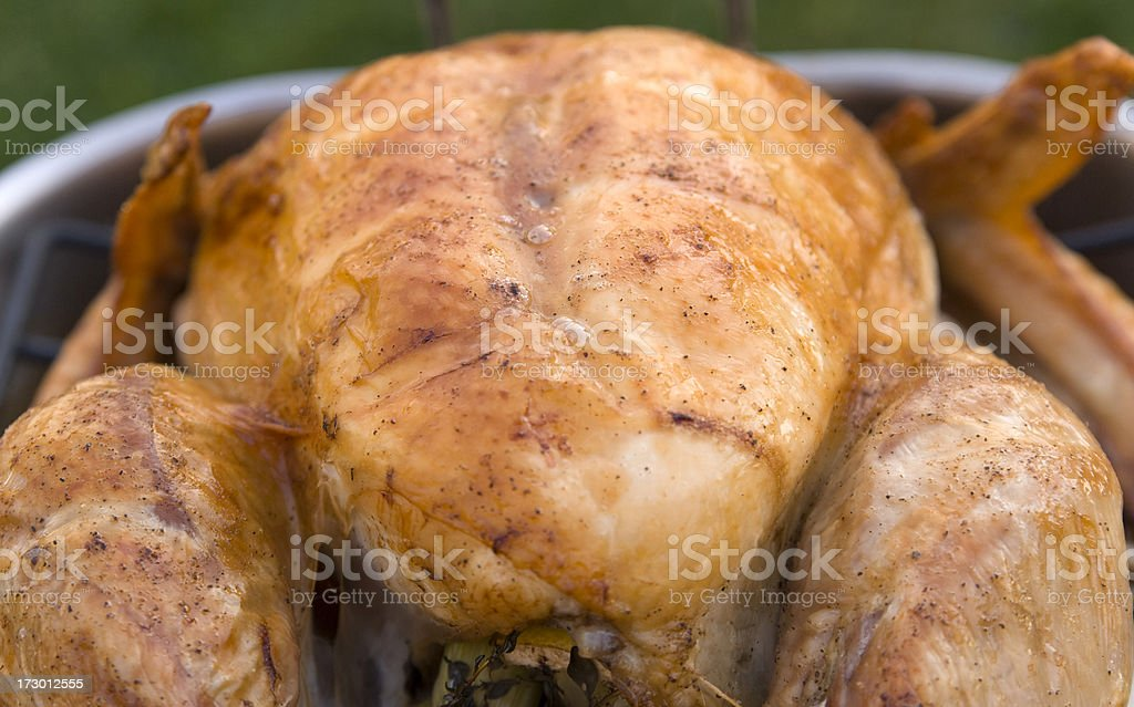 Baking Pan with Roast Turkey, Thanksgiving & Christmas Holiday Dinner Background royalty-free stock photo