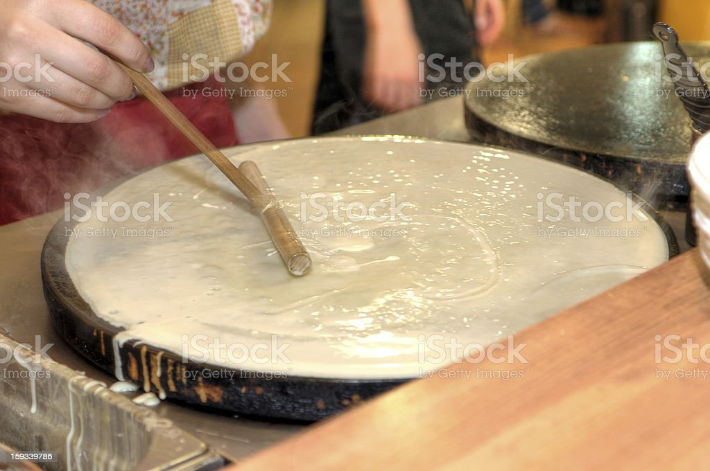 Baking pancakes - traditional Russian cuisine royalty-free stock photo
