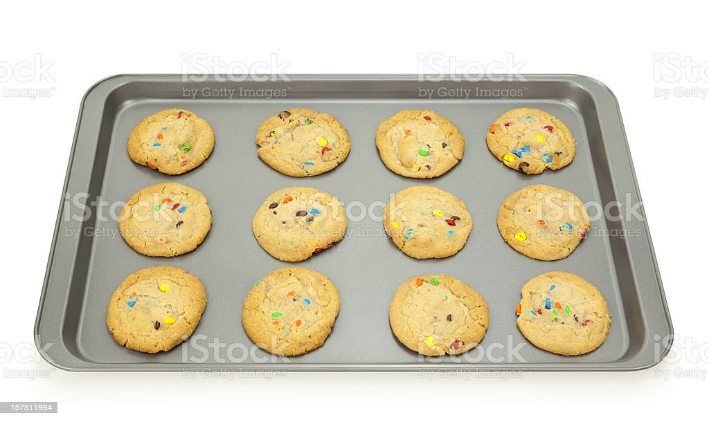 Baking Sheet with Cookies stock photo