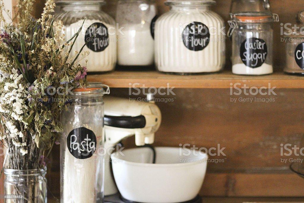 Baking Shelf on antique hutch