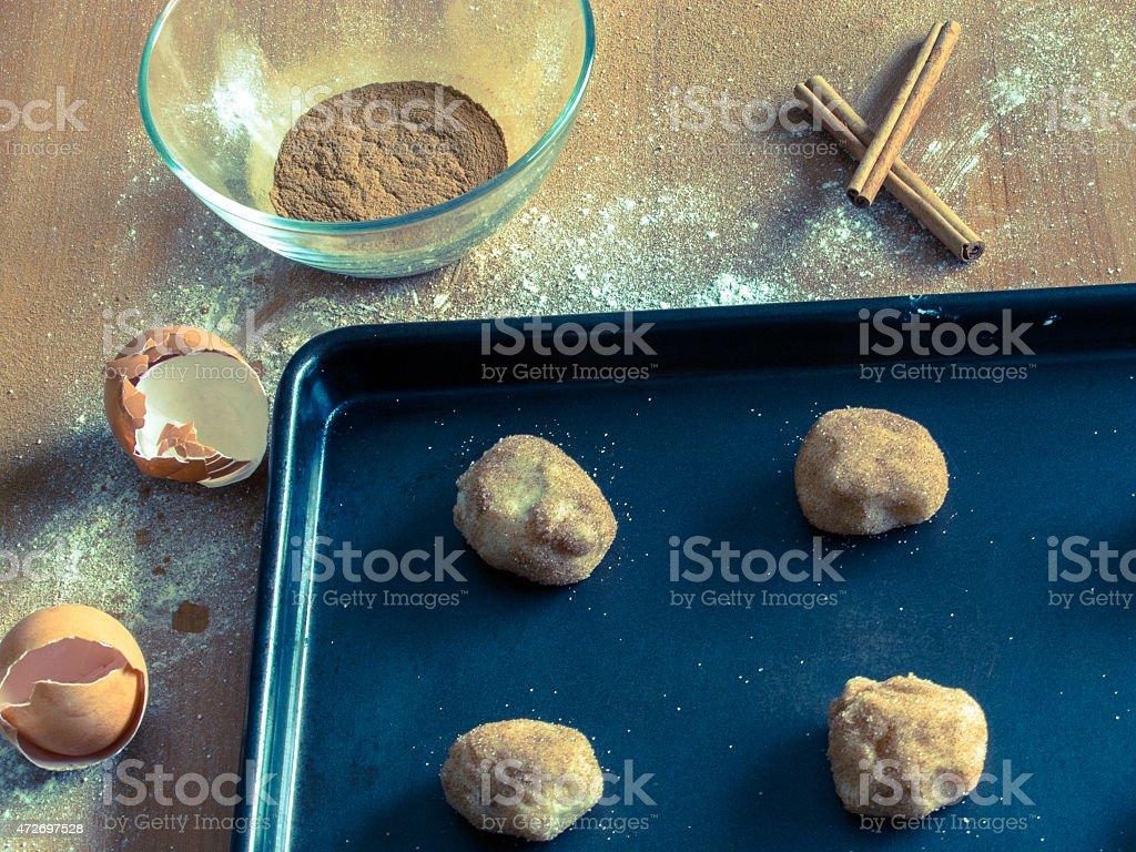 Baking Snickerdoodle Cookies stock photo