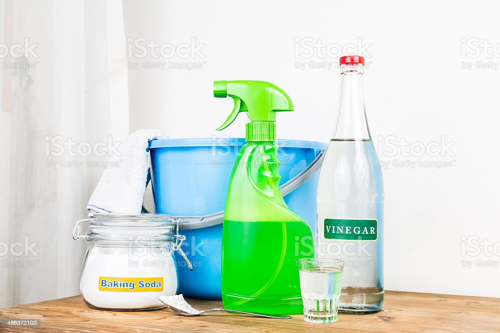 Baking soda with vinegar, natural mix for effective house cleani Baking soda with vinegar, natural mix for effective house cleaning 2015 Stock Photo