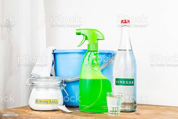 Baking Soda With Vinegar Natural Mix For Effective House Cleani Stock Photo - Download Image Now
