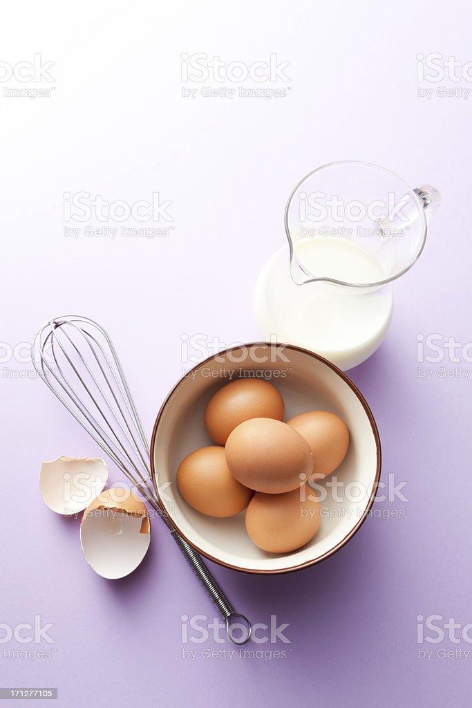 Baking Stills: Eggs and Milk royalty-free stock photo