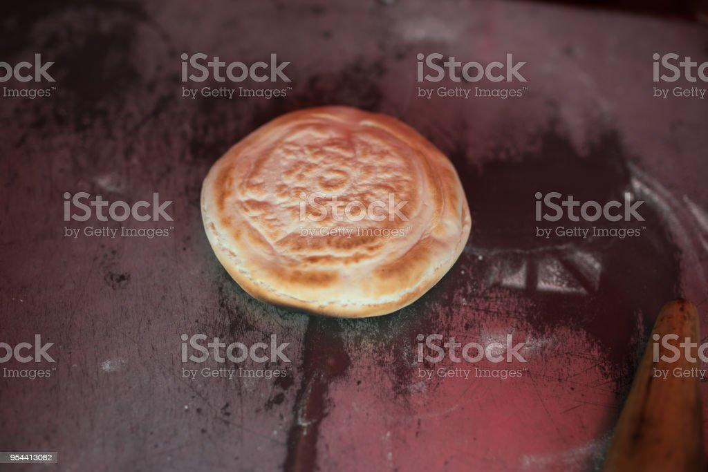 baking the bread bun for meat clip stock photo