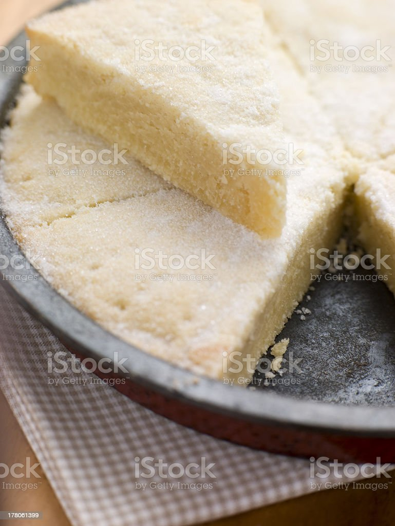 Baking Tin with Scottish Shortbread royalty-free stock photo