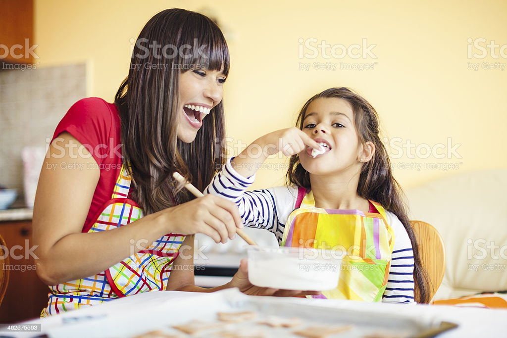 Baking together stock photo