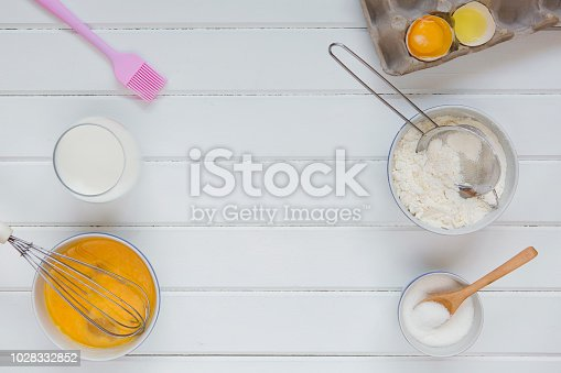 Baking utensils and ingredients. Top view. Flat lay
