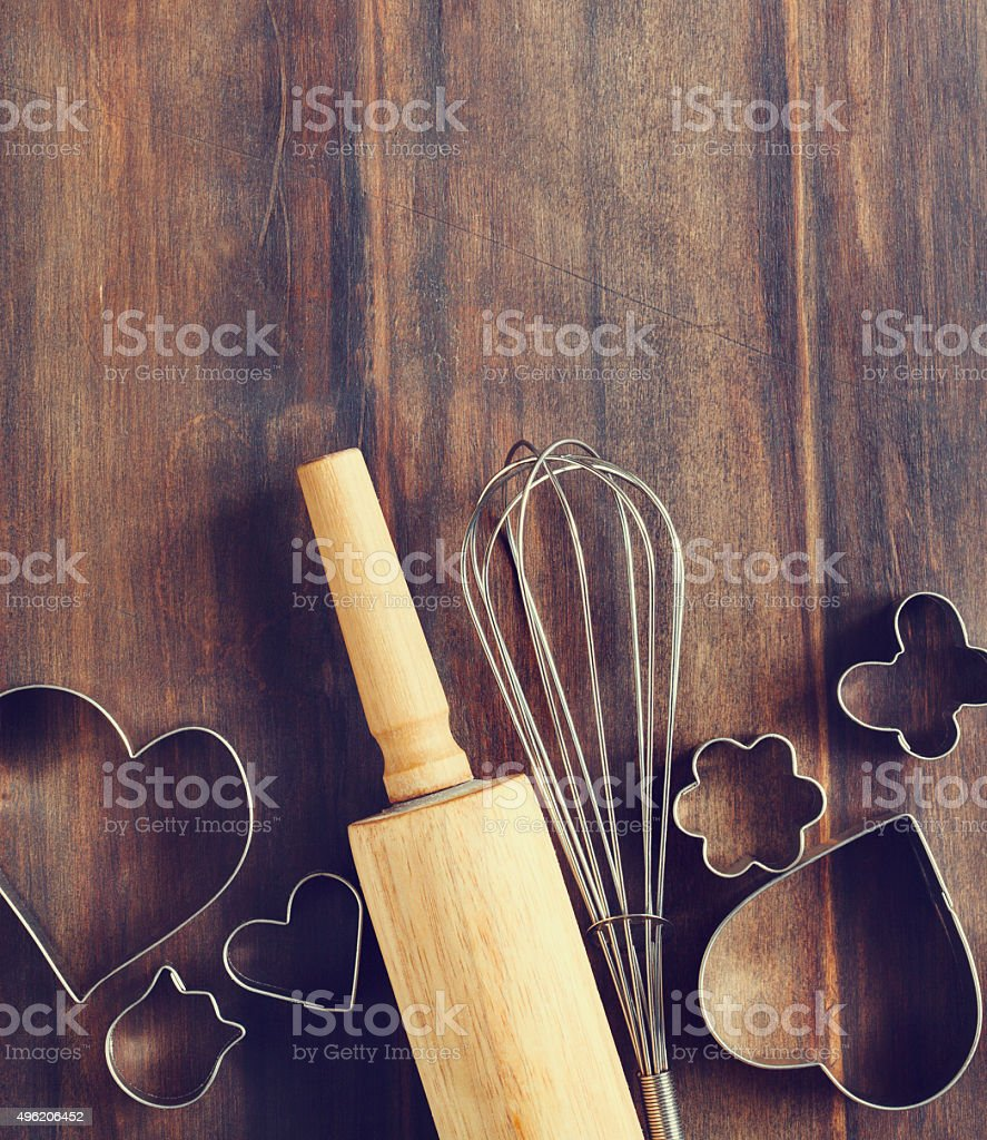 Baking utensils for cookie on wooden background. stock photo
