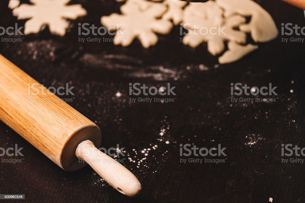 baking winter solstice cookies stock photo