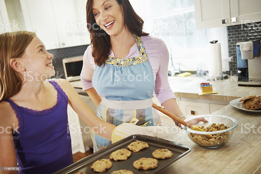 Baking with her daughter royalty-free stock photo