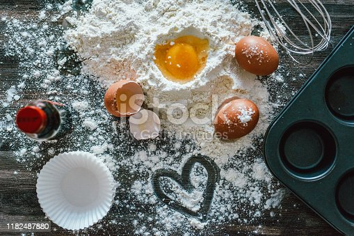 Shot of baking ingredients on a kitchen table at home